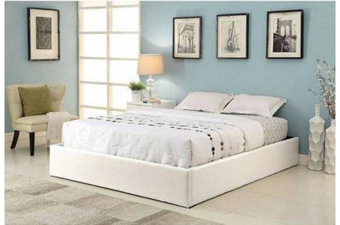 cadre de lit coffre 140x190 pvc blanc avec sommier ilao lit design pas cher. Black Bedroom Furniture Sets. Home Design Ideas