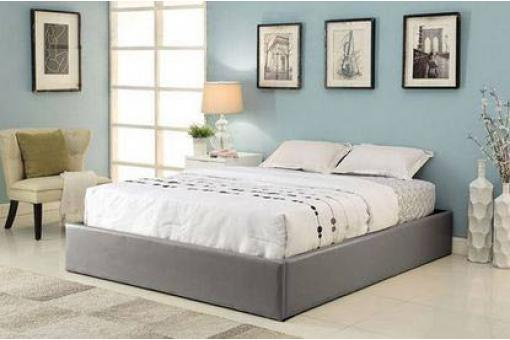 cadre de lit coffre 140x190 pvc gris avec sommier ilao lit design pas cher. Black Bedroom Furniture Sets. Home Design Ideas