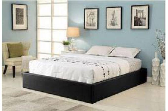 Cadre de lit coffre 160x200 noir avec sommier ilao lit design pas cher - Cadre de lit avec coffre ...