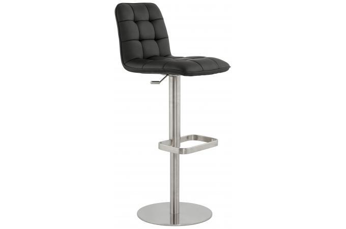 chaise haute assise capitonn e noir straa tabouret de. Black Bedroom Furniture Sets. Home Design Ideas
