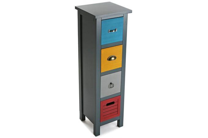 Colonne de rangement 4 tiroirs patchos meuble de - Meuble colonne design ...