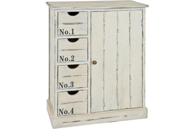 Commode 4 tiroirs en bois massif blanchi no 1 franz meuble de rangement pa - Commode bois blanchi ...