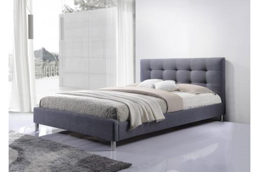 lit gris 160 en tissu avec t te de lit capitonn e eva lit design pas cher. Black Bedroom Furniture Sets. Home Design Ideas