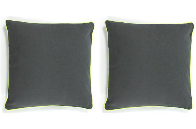 lot de 2 coussins d houssables gris 40x40 today jaune fluo coussin pas cher. Black Bedroom Furniture Sets. Home Design Ideas