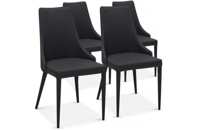 Lot de 4 chaises design noir pagan chaise design pas cher - Chaise salle a manger pas cher lot de 4 ...