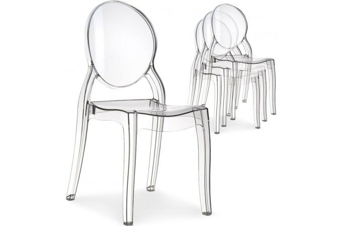 Lot de 4 chaises m daillon plexi transparent elizabeth for Chaise scandinave plexi