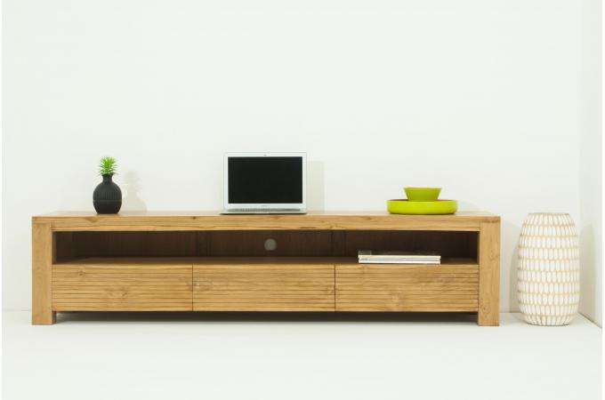 Meuble tv matteo 3 tiroirs en teck massif meuble tv pas cher Meuble en teck pas cher
