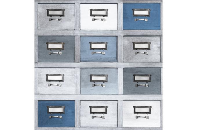 papier peint tiroir bleu gris papier peint trompe l 39 oeil pas cher. Black Bedroom Furniture Sets. Home Design Ideas
