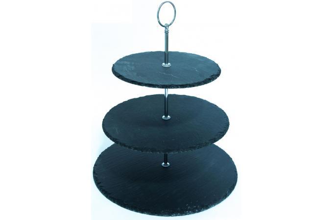 Serviteur 3 tages ardoise accessoires cuisine sali re for Serviteur de table 3 etages