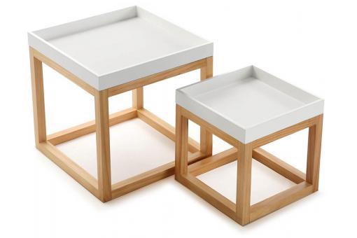 set de 2 tables blanches design scandinave abigaelle table basse pas cher. Black Bedroom Furniture Sets. Home Design Ideas