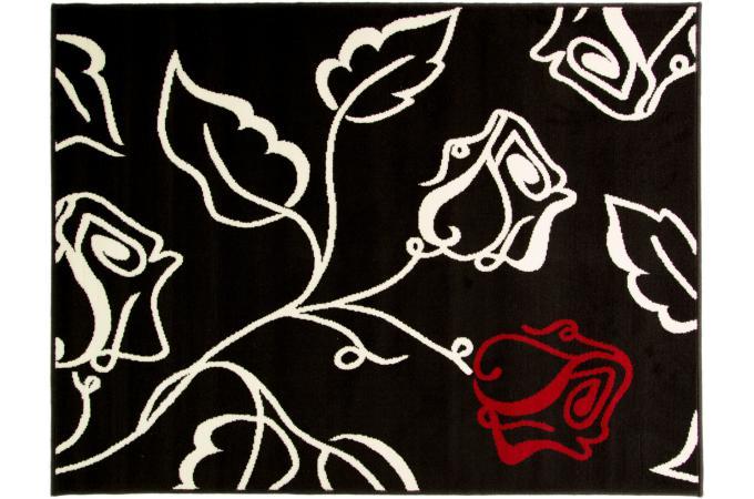 Tapis 100 polypropylene sista 160x220 noir rouge et cr me tapis classiques - Tapis rouge et noir design ...