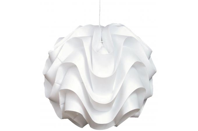 Vague suspension boule pvc vague dia 33x80 blanc for Luminaire suspension boule