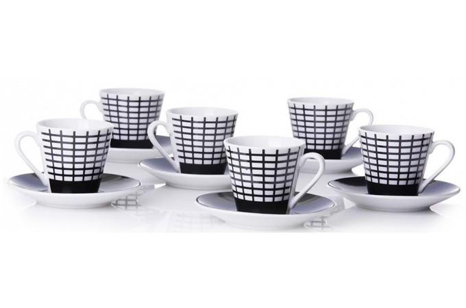 Declikdeco  Set de 6 tasses à café noir en porcelaine Janice