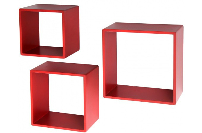 Declikdeco  Étagère modulaire rouge en MDF Joséfina