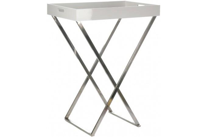 desserte pliable blanche en bois babine table d 39 appoint pas cher. Black Bedroom Furniture Sets. Home Design Ideas