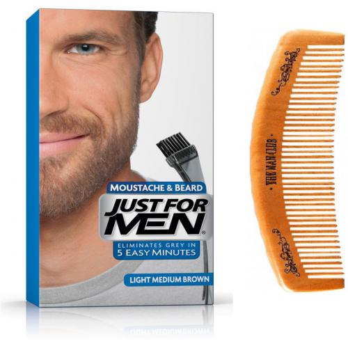 Just For Men - PACK COLORATION BARBE & PEIGNE - Chatain Moyen Clair - Coloration just for men