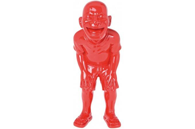 Declikdeco  Statuette déco rouge l'homme qui rit Valéry