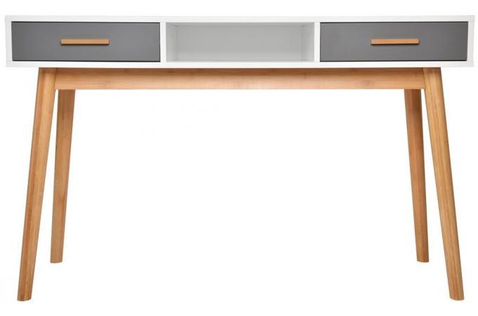 Bureau oaky blanc et gris bureau pas cher for Mobilier de bureau blanc