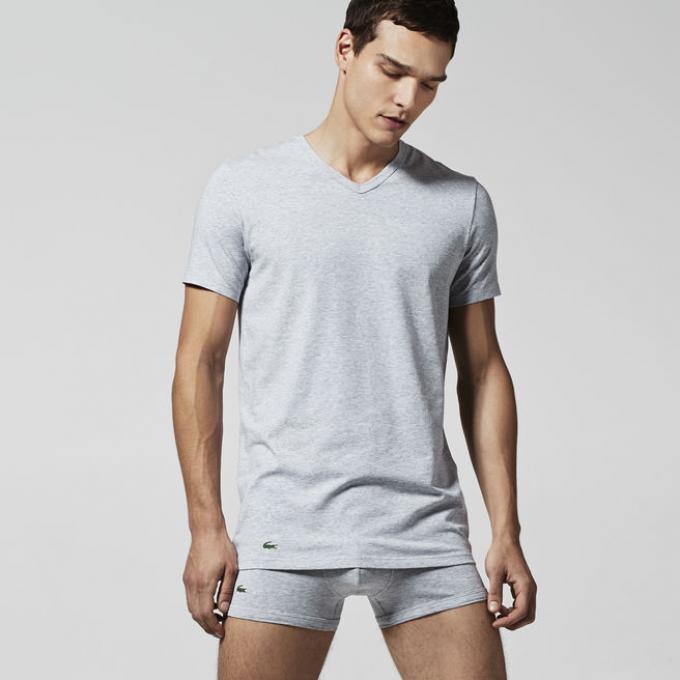 lot de 2 t shirts coton total confort lacoste underwear. Black Bedroom Furniture Sets. Home Design Ideas