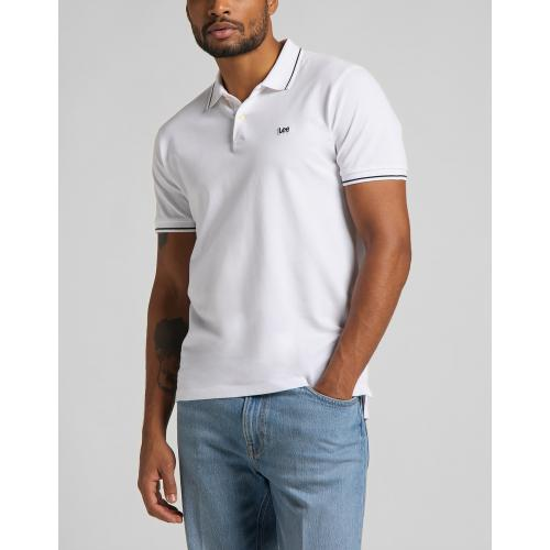 Lee - polo blanc Pique Polo - Tee shirt homme