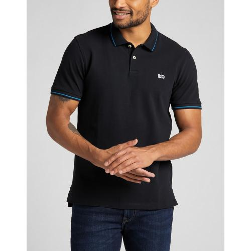 Lee - polo noir Pique Polo - Tee shirt homme