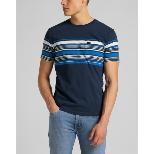 Lee - T-Shirt Bleu SS Stripy Pkt Tee - Mode homme