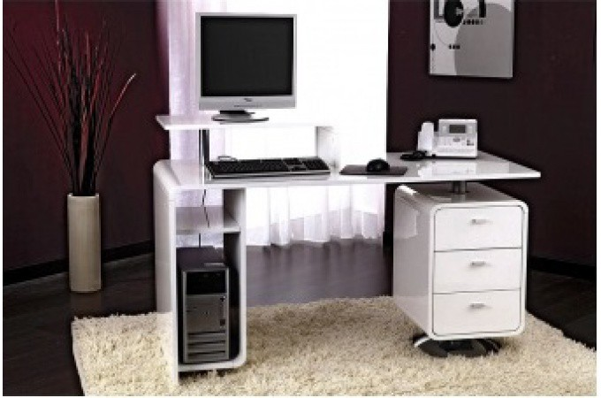 bureau blanc laqu grand mod le florida bureau pas cher. Black Bedroom Furniture Sets. Home Design Ideas