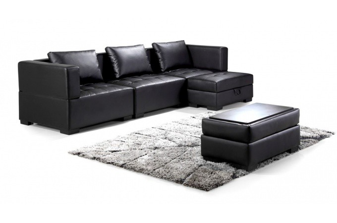 canap d 39 angle r versible et convertible avec pouf coffre. Black Bedroom Furniture Sets. Home Design Ideas
