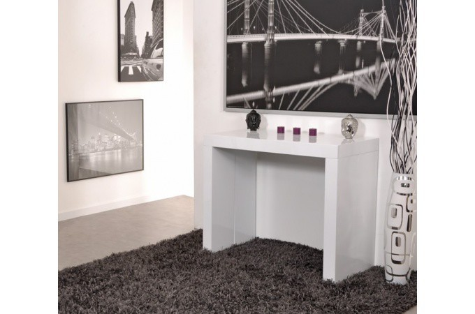 console extensible plaqu bois 5 rallonges blanche table. Black Bedroom Furniture Sets. Home Design Ideas