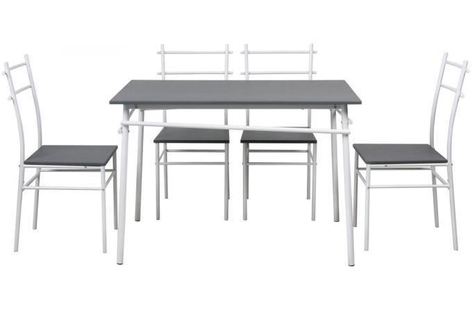 Ensemble table et 4 chaises pieds et plateau gris - Table et 4 chaises pas cher ...