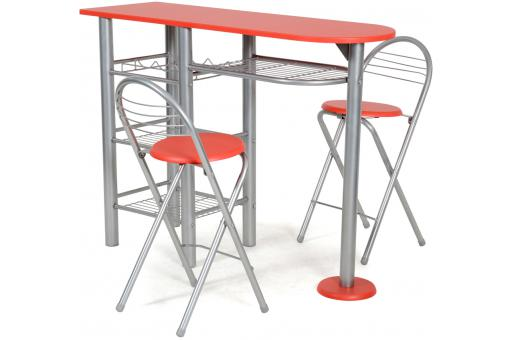 Ensemble table haute et 2 chaises rouge table de bar pas cher for Petite table bar pas cher