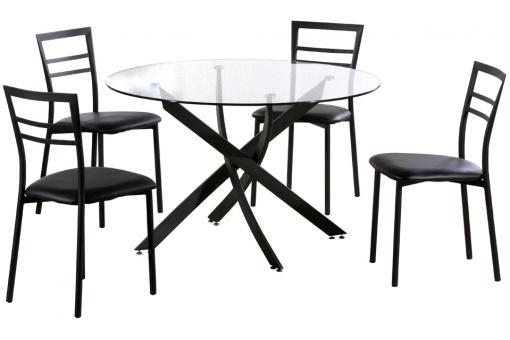 Ensemble table ronde et 4 chaises noir table manger for Ensemble table ronde et chaise