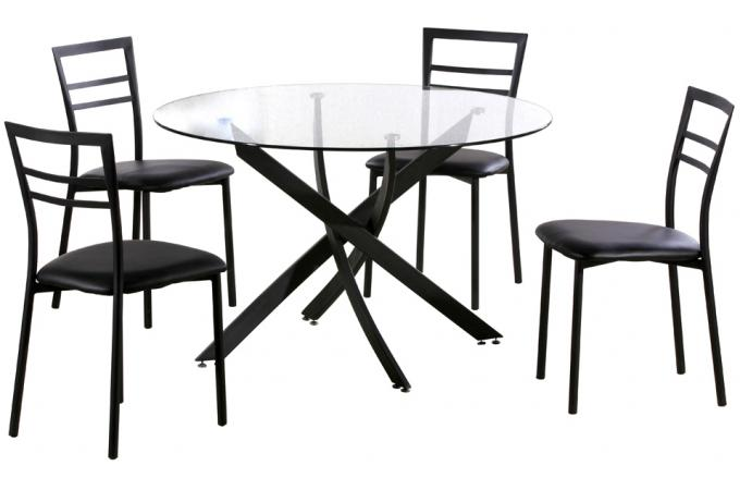 ensemble table ronde et 4 chaises noir table manger pas cher. Black Bedroom Furniture Sets. Home Design Ideas