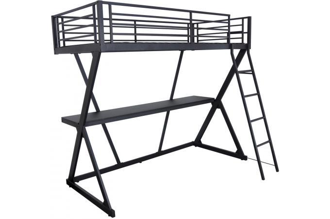 lit mezzanine 90x190cm avec tablette de bureau noir mat lit enfant pas cher. Black Bedroom Furniture Sets. Home Design Ideas