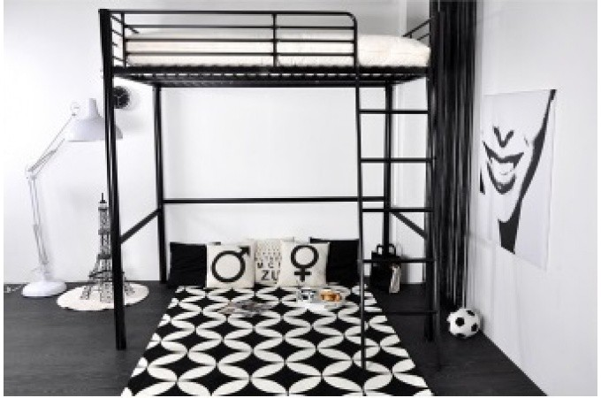 lit mezzanine en m tal noir en 140x190 cm lino lit design pas cher. Black Bedroom Furniture Sets. Home Design Ideas