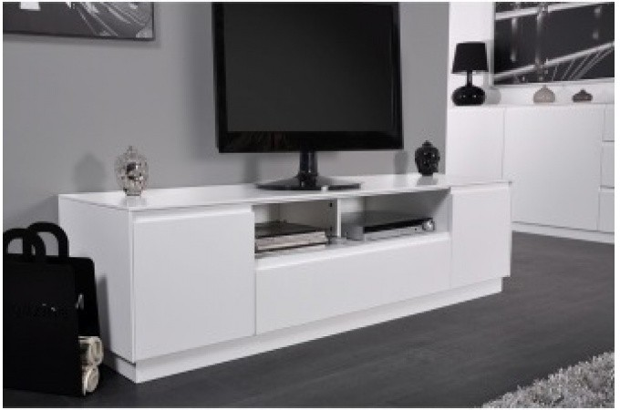 meuble tv 2 portes 1 tiroir laqu blanc 165 cm soho. Black Bedroom Furniture Sets. Home Design Ideas