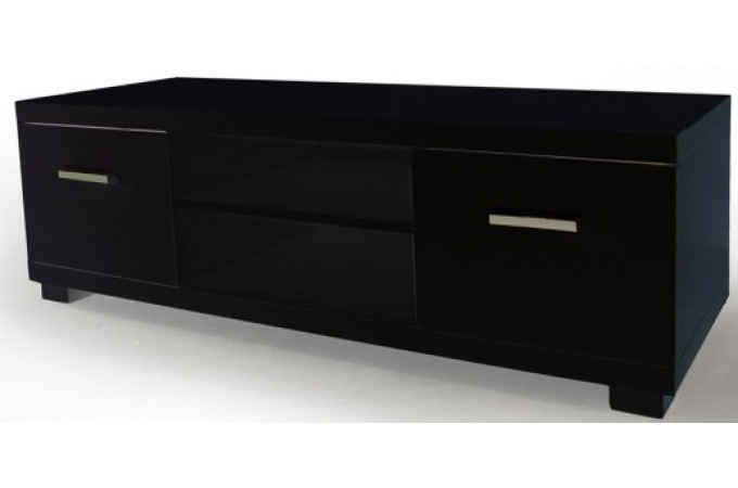 Meuble tv 2 tiroirs 2 niches laqu noir triange meuble - Meuble tv but noir ...