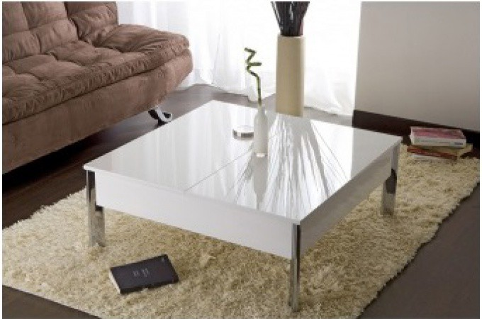 table basse laqu e blanche demi plateau r haussable 90. Black Bedroom Furniture Sets. Home Design Ideas