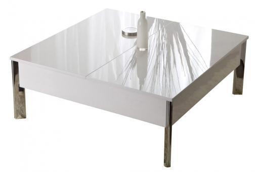 Table basse laqu e blanche demi plateau r haussable 90 - Table salon rehaussable ...
