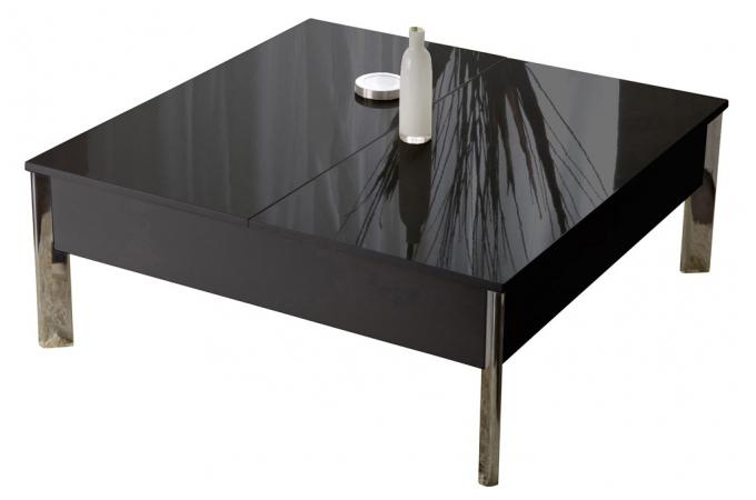 Table basse laqu e noire demi plateau r haussable 90 cm - Table basse rehaussable ...