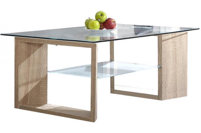 Table basse marron avec plateau en verre moda design pas - Table basse design pas cher verre ...