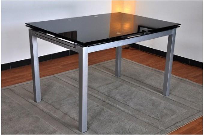 table repas extensible en verre noir 120 200 paros table. Black Bedroom Furniture Sets. Home Design Ideas