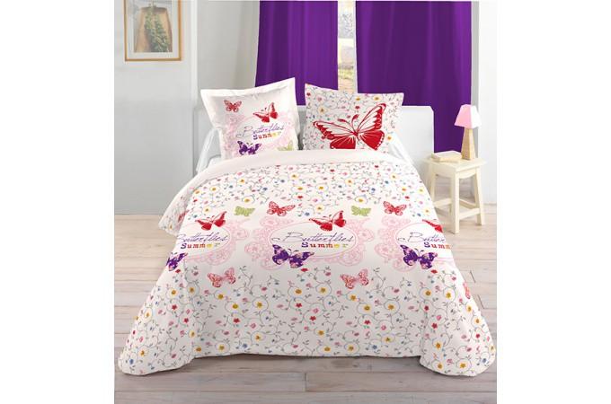 Declikdeco  Housse de couette multicolore Comedia 240x220 et ses deux taies d'oreiller