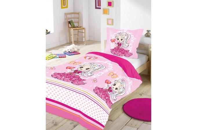 Housse de couette rose pink princess 140x200 et sa taie d 39 oreiller housse de couette pas cher - Housse de couette princesse 140x200 ...