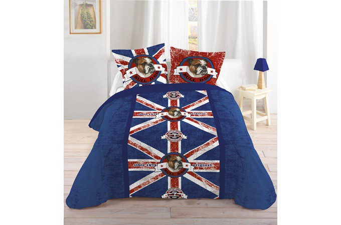 housse de couette chien british 240x220 et ses deux taies. Black Bedroom Furniture Sets. Home Design Ideas