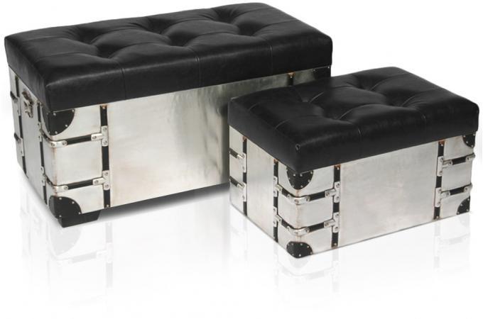 Banquette coffre et pouf m tal et simili cuir rico noir banquette m r - Banquette coffre design ...