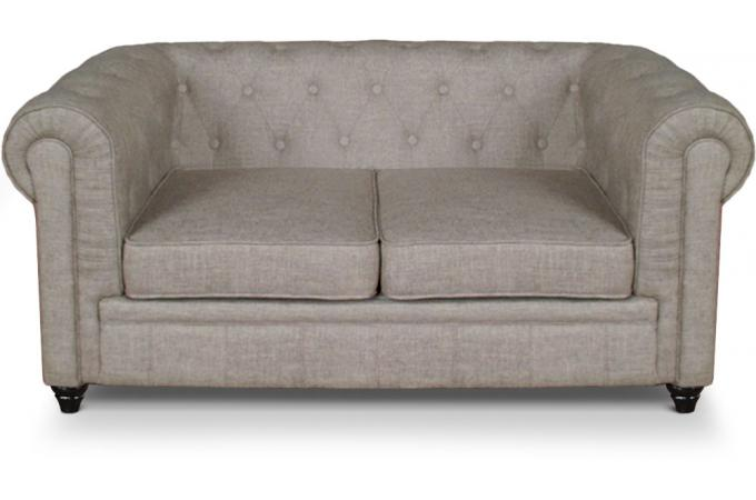 Canap 2 places chesterfield effet lin beige canap 2 for Canape a l orientale