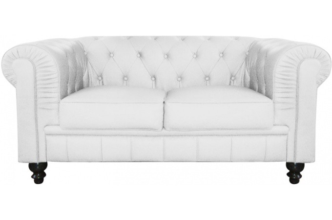 canap chesterfield cuir blanc capitonn 2 places declikdeco. Black Bedroom Furniture Sets. Home Design Ideas