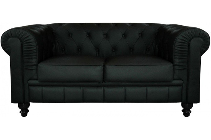 canap chesterfield cuir noir capitonn 2 places declikdeco. Black Bedroom Furniture Sets. Home Design Ideas