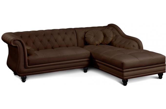Canap d 39 angle brittish marron style chesterfield canap for Canape chesterfield cuir pas cher
